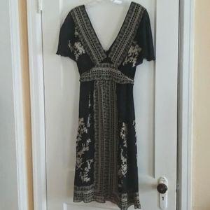 WHBM 100% silk black summer dress size 4